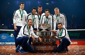 """""""GHENT, BELGIUM - NOVEMBER 29:  The Great Britain team pose with the trophy following their victory during day three of the Davis Cup Final match between Belgium and Great Britain at Flanders Expo on November 29, 2015 in Ghent, Belgium.  (Photo by Jordan Mansfield/Getty Images for LTA)"""""""